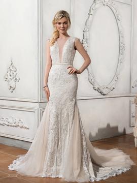 Charming Illusion Neckline Backless Lace Mermaid Wedding Dress
