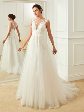 Charming Jewel Appliques Backless A Line Wedding Dress