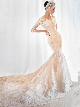 Charming Off The Shoulder Appliques Mermaid Wedding Dress With Sleeves