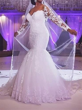 Charming Off The Shoulder Long Sleeves Mermaid Wedding Dress
