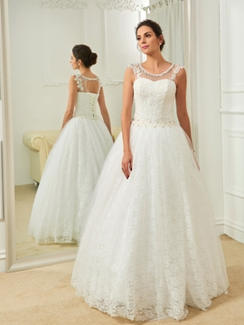 Charming Scoop Beaded A Line Lace Wedding Dress