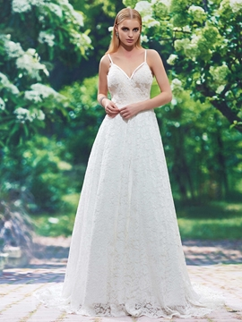 Charming Spaghetti Straps Backless A Line Lace Wedding Dress