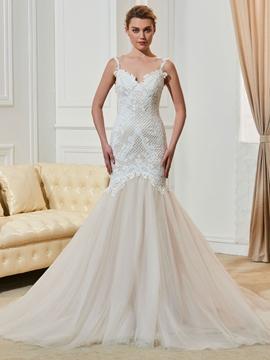 Charming Spaghetti Straps Lace Backless Mermaid Wedding Dress
