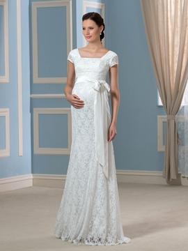 Charming Square Short Sleeves Sheath Lace Maternity Wedding Dress