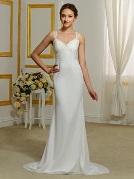 Charming Straps Sheath Sheer Back Wedding Dress