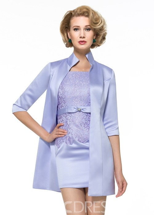 Charming Straps Sheath Short Mother of the Bride Dress with Jacket