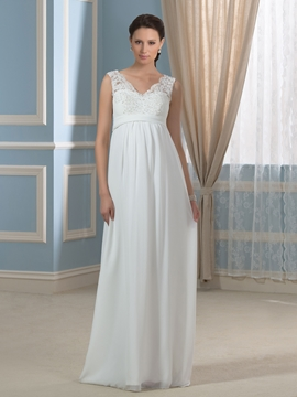 Charming V Neck A Line Lace Maternity Wedding Dress