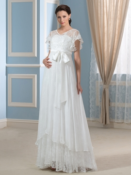 Charming V Neck Short Sleeves Lace Maternity Wedding Dress