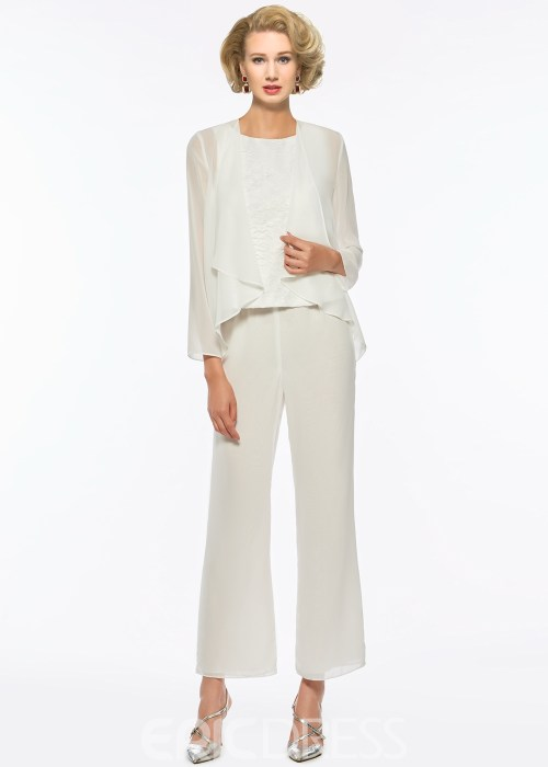 Chiffon Mother of The Bride Jumpsuit with Long Sleeves Jacket