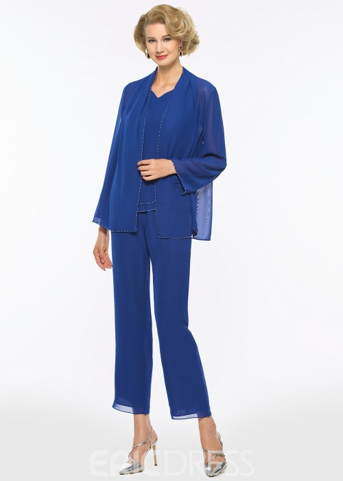 Chiifon Long Sleeves Mother of The Bride Jumpsuit
