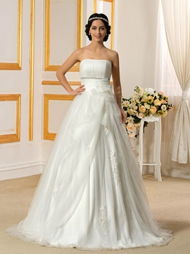 Classical Strapless A Line Wedding Dress