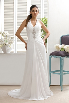 Classy Sheath-Column V-neck Court Beaded Taline's Wedding Dress