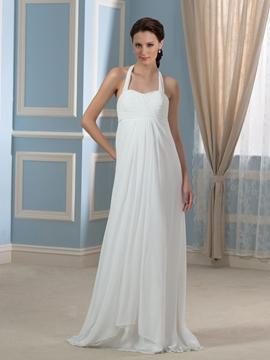 Comfortable Halter Empire Maternity Wedding Dress