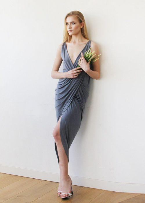 Dark Grey Wrap Tulip Dress with V Neckline SALE 1154