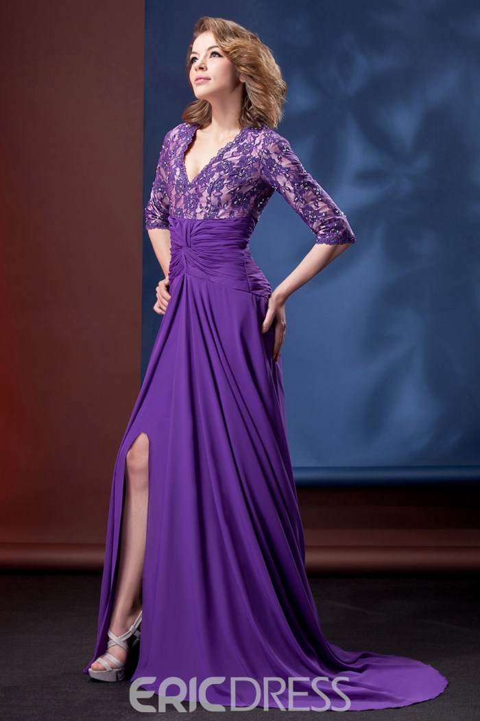eb7549ff4 Delicated Lace A-line V-Neck 3-4-Sleeves Floor-Length Mother of the ...