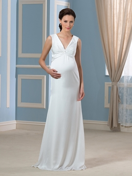 Eleagant V Neck Sheath Cloumn Maternity Wedding dress