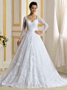 Elegant A Line Long Sleeves Wedding Dress