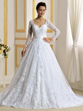 Elegant A Line Long Sleeves Wedding Dress