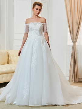 Elegant Appliques Beaded Off The Shoulder Wedding Dress With Sleeves