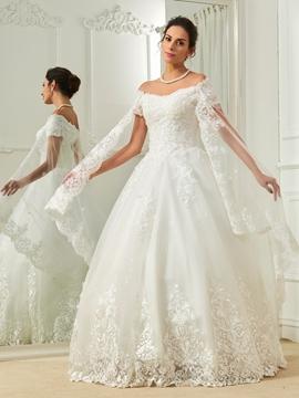 Elegant Appliques Off The Shoulder Short Sleeves Ball Gown Wedding Dress