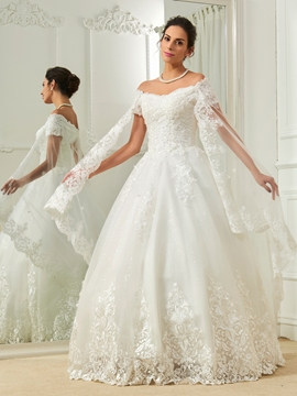 Elegant Appliques Off The Shoulder Short Sleeves Ball Gown Wedding Dress