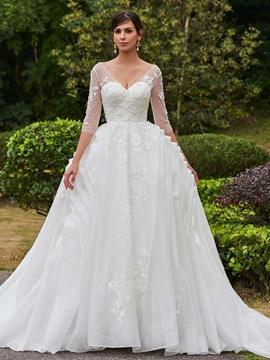 Elegant Appliques V Neck A Line Wedding Dress With Sleeves