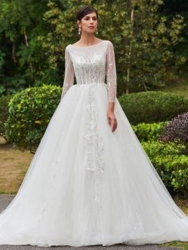 Elegant Bateau Off The Shoulder A Line Long Sleeves Wedding Dress