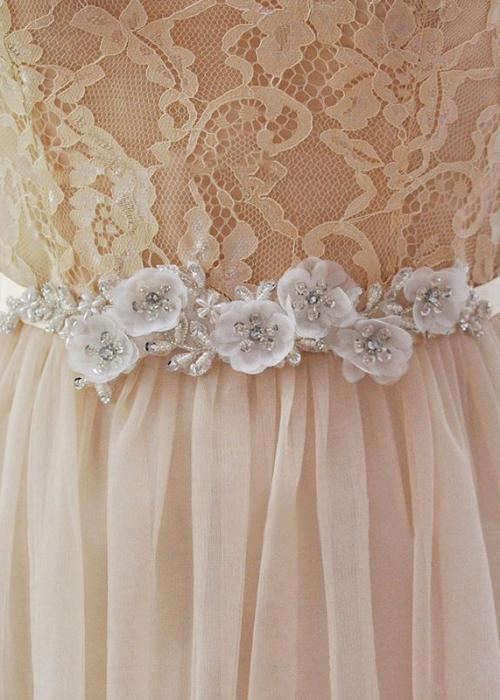 Elegant Flower and Pearl Bride Waistband Evening Party Prom Dresses Accessories Wedding Sashes Belts Bridal Belts Sashes