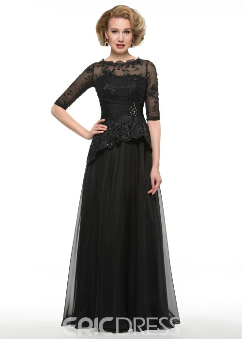 Elegant Half Sleeves Lace Long Mother Of The Bride Dress