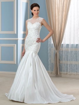 Elegant Jewel Appliques Beadings Mermaid Wedding Dress
