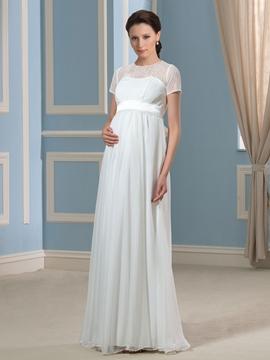 Elegant Jewel Short Sleeves Lace Maternity Wedding Dress