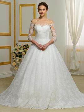 Elegant Lace Bateau Off Shoulder Wedding Dress with Sleeves