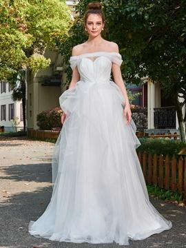 Elegant Long Tulle Off Shoulder Wedding Dress