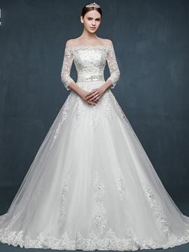 Elegant Off The Shoulder 4-3 Length Sleeves Wedding Dress