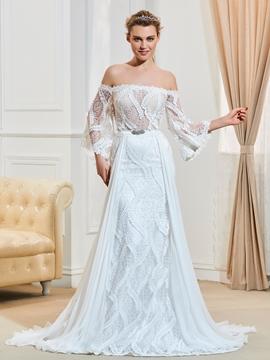 Elegant Off The Shoulder A Line Lace Wedding Dress
