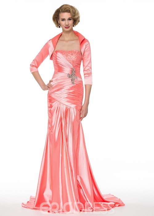 Elegant Strapless Beading Mermaid Mother of the Bride Dress With Jacket