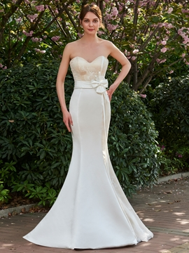 Elegant Strapless Sweetheart Long Mermaid Wedding Dress