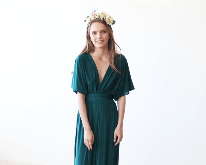 Emerald green batwing sleeves maxi dress 1002