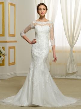 Eridress Luxury Beading Mermaid Wedding Dress