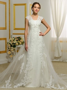 Fancy Appliques A Line Wedding Dress