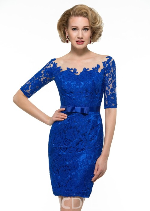 Fancy Bateau Short Lace Mother Of The Bridesmaid Dress