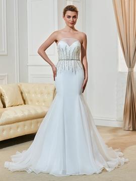 Fancy Beaded Strapless Mermaid Wedding Dress