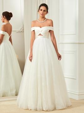Fancy Off The Shoulder A Line Backless Wedding Dress