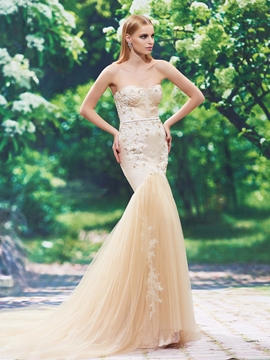 Fancy Sweetheart Appliques Beaded Mermaid Color Wedding Dress