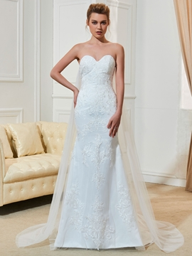 Fancy Sweetheart Appliques Watteau Train Mermaid Wedding Dress