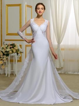 Fantastic V Neck Long Sleeves Backless Mermaid Wedding Dress