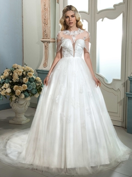Fashionable Illusion Neckline A Line Wedding Dress With Sleeves