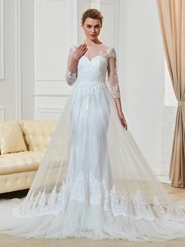 Fashionable Jewel Appliques 3-4 Length Sleeves Sheath Wedding Dress