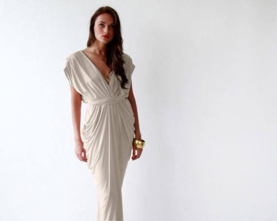 Formal maxi champagne dress SALE 1008