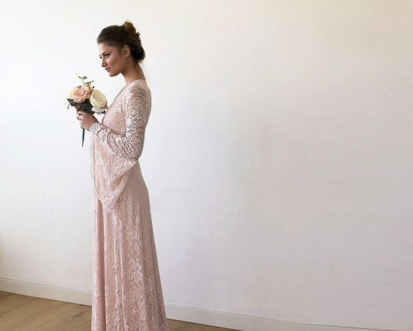 Full Lace Bell Sleeves Wedding maxi dress in Blush 1167